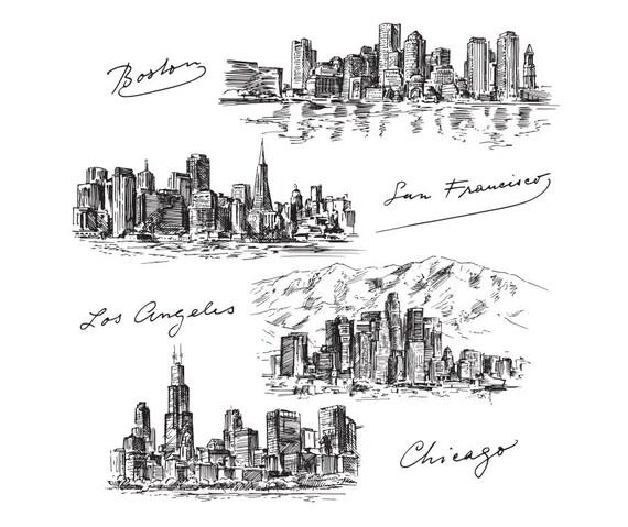 Edificios famosos de ciudades dibujo dibujo Clip Art Digital