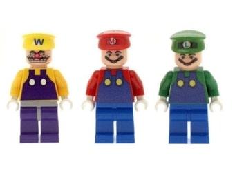 Custom Designed Minifigures - Super Mario, Luigi & Wario