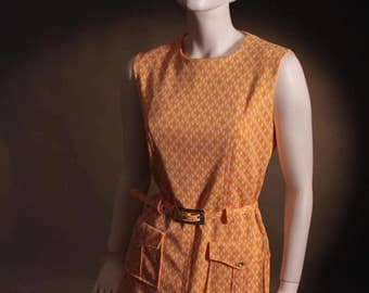 Vintage 1960's Space Age Orange and White Mod Style Belted Mini Dress Size UK 10-12