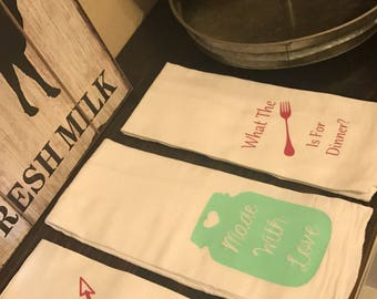 Personalized Flour Sack Kitchen Towels
