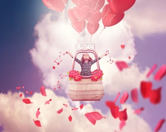 Digital Backdrop | Digital Background | Valentines Backdrop | Photo backdrop | Hearts | Roses | Petals | Hot air balloon | Photoshop file