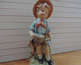 Figurine porcelain - boy - little gardener - Taiwan