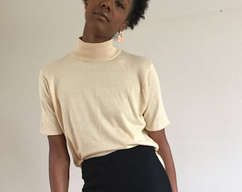 Ivory 100% Silk Thin Knit High Neck Tee / Short Sleeve Fine Knit Sweater L