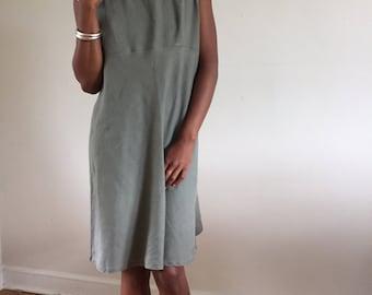 Light Olive 100% Woven Linen Bias Cut Sleeveless Market Dress