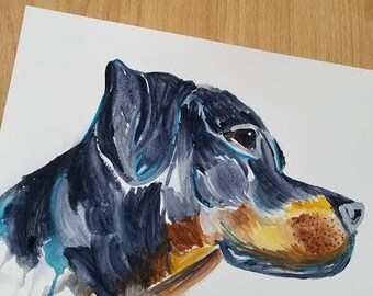 Custom Watercolor Rottweiler