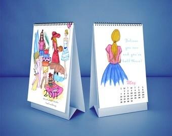 Fashion Desk Calendar for 2018, Illustrated Desk Calendar, Fashion Illustration, Watercolor Women Drawings, 2018 Desk Calendar for Women