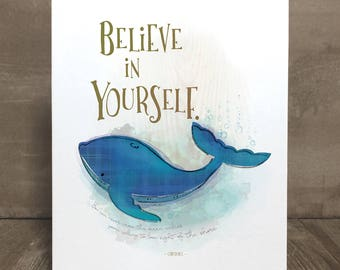 Children's art print, confidence whale, nursery art, kid character trait