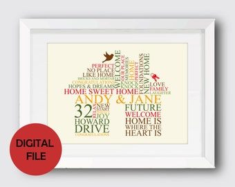 New Home Word Art DIGITAL FILE/Personalised Word Art/New Home Gift/Housewarming Gift/Personalised Gift