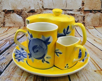 Blue n Yellow Fresh Bloom/Personal Tea Set/Teapot Mug Creamer Plate/Herman Dodge & Son/Hand Painted Ceramic/Afternoon Tea/Mother's Day Gift