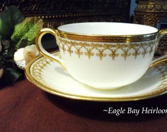 Bouillon Cup & Saucer Royal Cauldon England #L5793 Heavy Gold Encrusted on White China