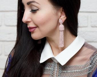 High quality Pink beaded earrings tassel Oscar de La Renta Style women earrings stud earrings Beadwork jewelry Dangle earrings Oscar tassel