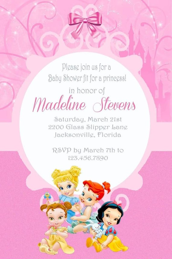 baby shower theme girl baby shower unique invites disney princess