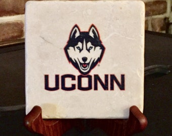 UCONN Huskies! Natural tumbled Marble coasters - set of 4.