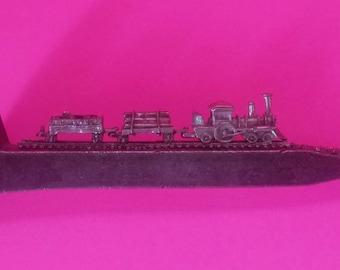Railroad Spike Art with Pewter Train Scene