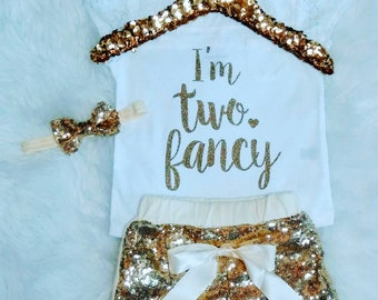 I'm TWO Fancy 2nd Birthday Outfit Girl 2nd Birthday Shirt It's My Birthday Shirt 2 Birthday Outfit 2 Gold Birthday Outfit Second Birthday