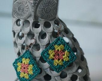 Handmade Crocheted Granny Square Earrings
