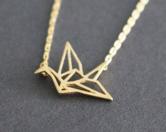 Birdy gold plated 18K cute animal origami bird necklace