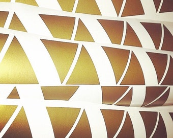 100 Gold Metallic Triangle Wall Stickers, Decoration Confetti, Wall Decals, Vinyl, Envelope, Car, Office, Home, Nursery Wallpaper, Wedding