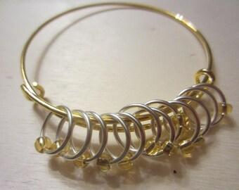 12 Stitch Markers on Bracelet Bangle / Knitting / Snagless Round Metal