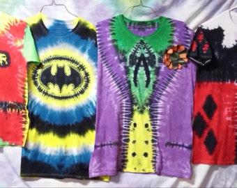 New Kids Made to Order Batman's Friends / Villians Tie Dye T-shirts Joker, Robin, Harley Quinn, & Riddler!