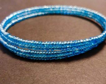 Blue Seed Bead Memory Wire Bracelet