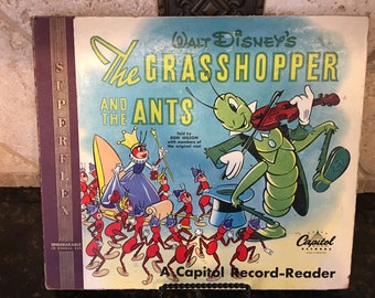 "Original 1949 Walt Disney ""The Grasshopper and the Ants"" book & 2 record set 10"""