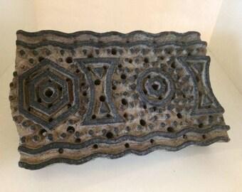 Vintage Wooden Indian Printing Block Hexagon Circle and Polka Dot Design