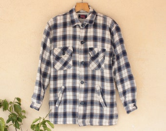 Vintage Checked Shearling Lined Shirt - Size Small