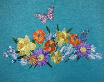 Floral Spray Embroidered Sweatshirt