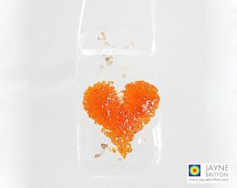Orange heart light catcher, fused glass suncatcher, orange glass art, gifts under 5, orange gift