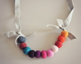 Handmade Felted Wool Necklace* girls necklace * birthday party favors * whimsical * girls birthday present