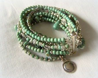 MULTI STRAND BRACELET ... pale turquoise and silver