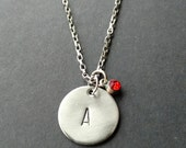 "Hand Stamped Stainless Steel Necklace ""Initial + Birthstone"", Personalized Necklace, Handstamped Metal Jewellery, Gift for Woman,"