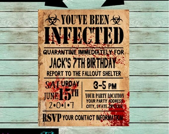 Zombie Virus Walkers Birthday Party Invitations Invites ~ We Print and Mail to You