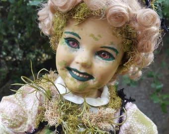 Mossra - Hand painted porcelain creepy doll