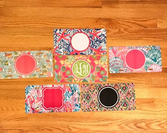 Lilly Pulitzer inspired monogrammed metal license plate
