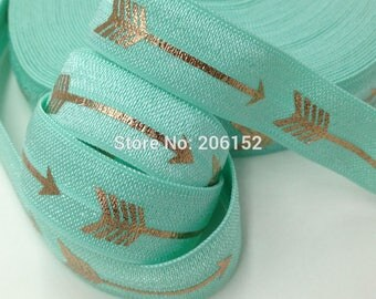Mint Green with Gold Foil Arrows Geometric Design FOE Fold Over Elastic 5/8th Inch 16mm - per Yard