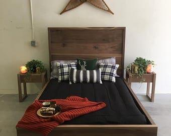 Walnut Solid Wood Bedframe   King / Queen