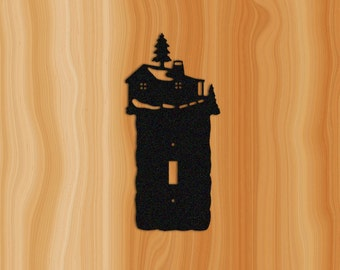 Wall Switch Plate Cover with Log Cabin