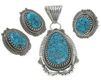 Turquoise Silver Pendant Necklace Set Navajo Made with Ring Earrings