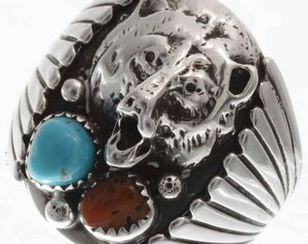 Turquoise Silver Bear Mens Ring Navajo Handmade Any Size