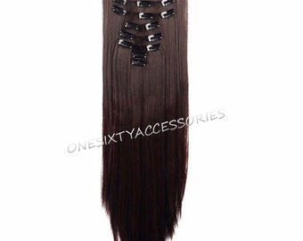 "Brown Hair Extensions Medium Brown Clip In Hair Extensions 26"" Long Curly Wavy Full Set Hair Weave Wigs TOP QUALITY 06D"