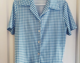 Homemade Blue Checkered Blouse