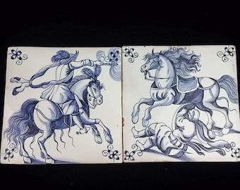 2 Portugese Delft-style Decorative Tiles - Estrela de Conimbriga