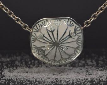White enamel, enamel pendant, silver pendant, enamel jewelry, enameled pendant, flower necklace, unusual necklace, enamelled necklace.