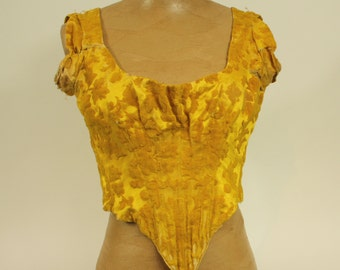 Very old, yellow silk corset top, 1900s, shabby chic, REDUCED PRICE