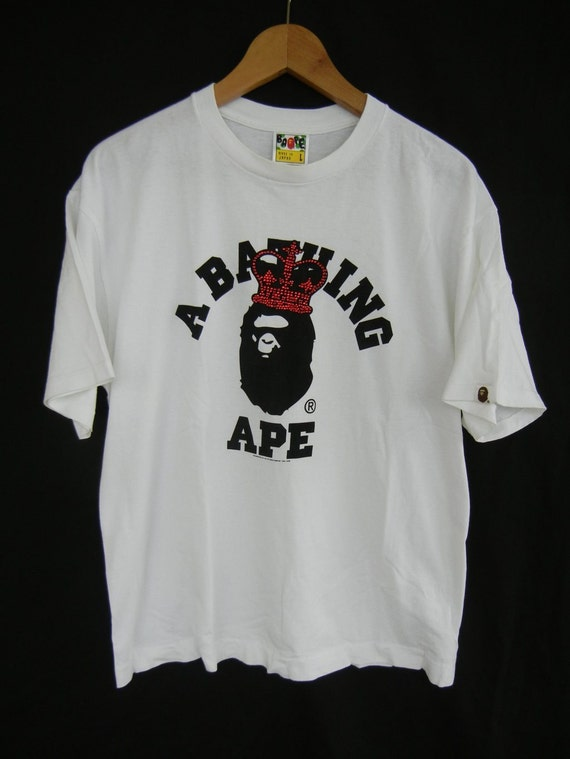 Vintage BAPE t shirt, 90 s bathing ape t shirt, baby Milo, a bathing ape, red bape tee, made in Japan, size men's medium