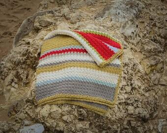 Baby, granny striped, crochet blanket