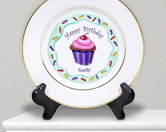 Personalized Ceramic Birthday Girl Plate Custom Name Gift