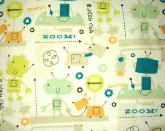 Green Robot Baby or Children's Blanket